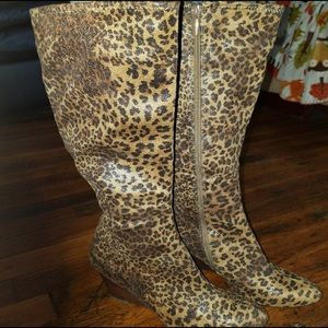Sassy leopard wedge tall boots
